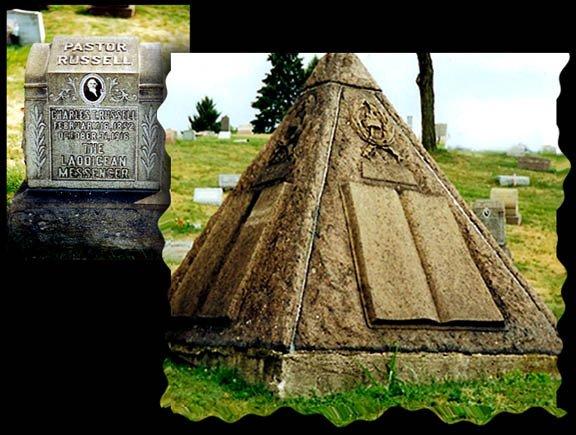 Grab7 Russell Wahrheiten jetzt! Charles Taze Russells Grabstätte — Horus-Pyramide und freimaurerisches Kreuz und Kronen Emblem